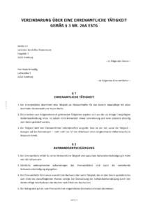 Vertrag über eine ehrenamtliche Tätigkeit (Muster)